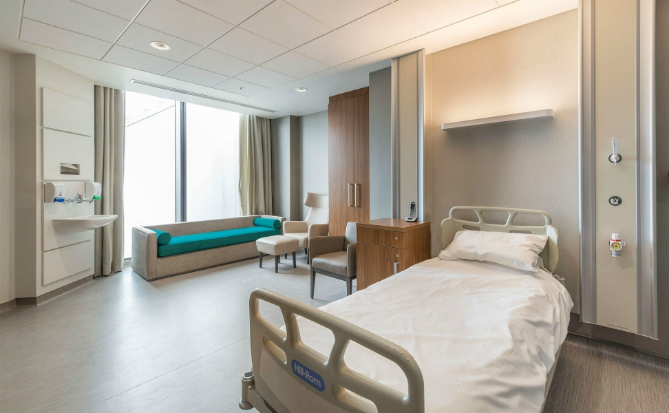 Guys Cancer Centre | Medical Supply Unit | Bedhead Trunking System | Medical Joinery | Medical Furniture | Nurse Call System | Medical Gas | Healthcare Bedhead | Bedhead Module | Healthcare Luminaire