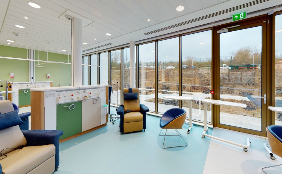 Sir Robert Ogden Macmillan Cancer Centre | Medical Supply Unit | Bedhead Trunking System | Medical Joinery | Medical Furniture | Nurse Call System | Medical Gas | Healthcare Bedhead | Bedhead Module | Healthcare Luminaire